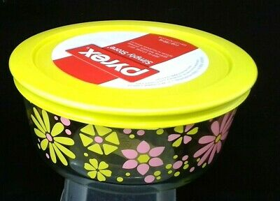 New Pyrex 4-cup storage serving gifting bowl 2018 glass daisy flower yellow pink