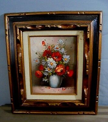 """1970's Signed R. Pasanault Flower Vase Still Life Canvas Oil Painting 15""""x17"""" #2"""