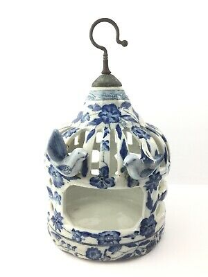 Rare Chinese Antique Blue / White Porcelain Pottery Decorative Bird Cage Signed