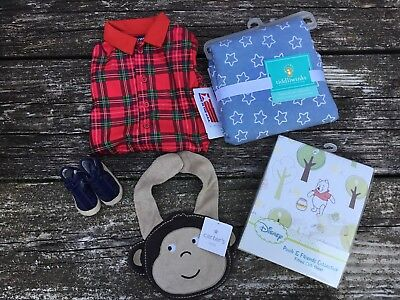 Lot Of Miscellaneous Infant Baby Boy Items Bib Blankets Shoes Sleeper Crib Sheet