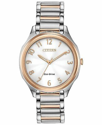 Ladies Citizen Eco-Drive Rose Gold Silver Stainless Silver Dial Watch EM0756-53A
