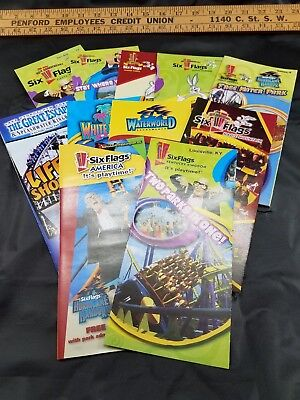 Six Flags 45th Anniversary Theme Park Brochures 2006 Lot Of 11 Different Parks