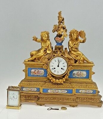 Monumental Lepaute a Paris Cherub Figural Sevres Porcelain Panel mantle clock