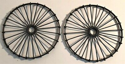 Pr. Antique 19Th Century Round Twisted Metal Wire Trivets Country Farm House Nr