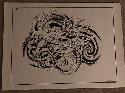 Collectible Vintage Don Nolan B & W Tattoo Design Back Piece Spaulding & Rogers