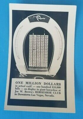 Joe  W. Brown's Horseshoe Club Casino One Million Dollars Las Vegas NV Postcard