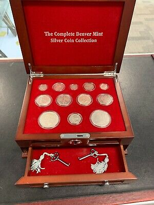 The Complete Denver Mint Silver Coin Collection Wooden Box & Key 90% Morgan *26