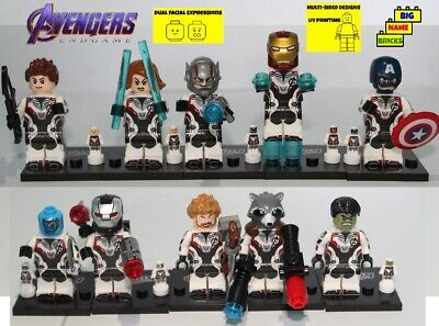 Custom lego* lot 10 minifigures Avengers Endgame Team in quantum white outfits