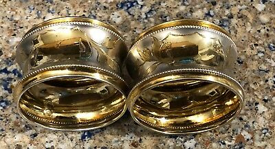 Fantastic Late Victorian Austro-Hungarian Two Tone Silver & Vermeil Napkin Rings