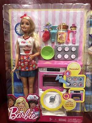 NIB Barbie Toys BAKERY Chef Play Sets Gift Two Cooks Doll Lot WORKING Oven MINT
