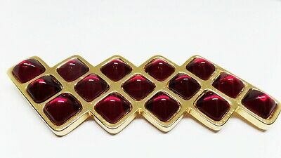 a82eddfa240 Clearance Ysl Yves Saint Laurent Signed Vintage Red Glass Cabochon Brooch!