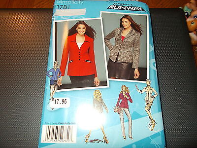 Simplicity Pattern 1781 Ms PROJECT RUNWAY Jacket 2 Lengths w//Front /& Collar Opts