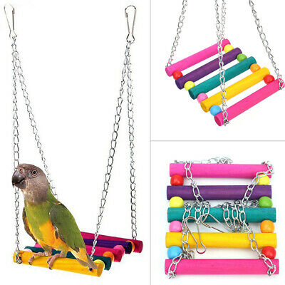 Wood Parrot Hanging Swing Birds Toy Harness Cage Toys Parakeet Cockatiel Budgie