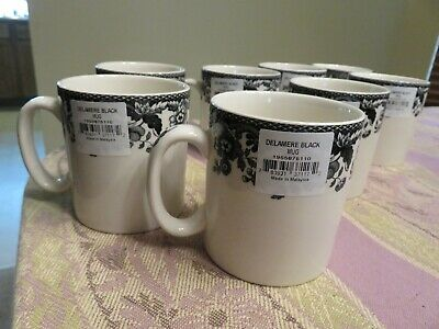 New With Tags Set 8 Spode DELAMERE Black Toile 8 oz Mugs