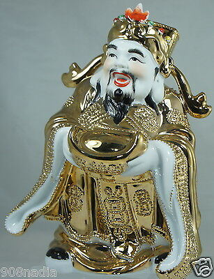 Vintage Porcelain Asian Chinese Figurine Good Luck Or Wise Man,Heavy Gold Decor