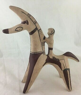 Pre Columbian Style Pottery Man On Horse Llama Or Alpaca Hand Painted