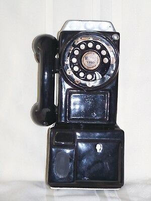 Vintage Rotary Black Payphone Ceramic Coin Bank