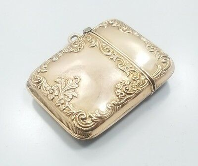 Antique Victorian Edwardian 9k 10k Yellow Gold Detailed Match Safe Fob Charm