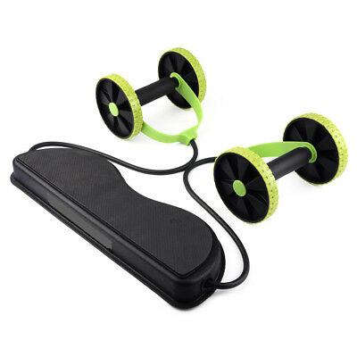 Double Wheels Ab Roller Pull Rope Waist Abdominal Slimming Exercise Gym Fitness