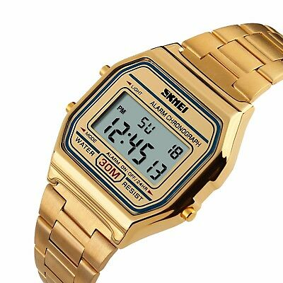 SKMEI Mens Luxury Stainless Steel Square Dial Alarm Date LED Digital Wrist Watch
