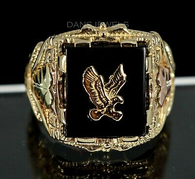 5a211394d5236 VINTAGE 10K YELLOW Gold BIG Eagle Black Hills Gold & Onyx Men's RING Size  10.5