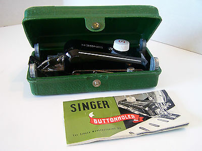 Vintage 1959 Singer Buttonholer Sewing Tool Attachment No 160506 & Manual