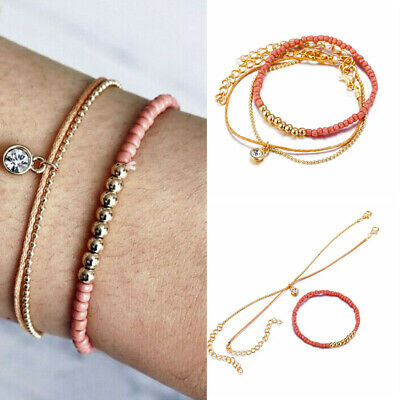 3Pcs Elegant Women Crystal Adjustable Chain Bangle Gold Bracelet Jewelry Gift