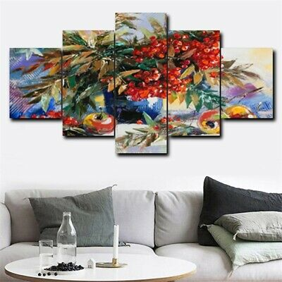 Flower On Vase Apple Oil Painting 5Pcs Canvas Home Hotel Wall Decor Art Picture