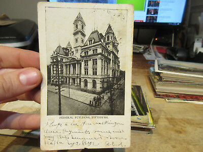 Vintage Old Postcard PENNSYLVANIA Pittsburgh Federal Building Courthouse RAZED