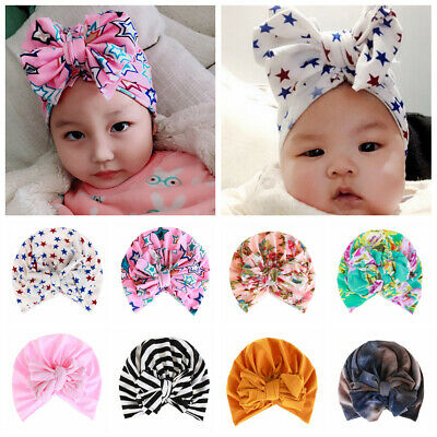 Toddler Kids Bow-knot Cotton BeanieFloral Baby Hat  Indian Turban Head Wrap