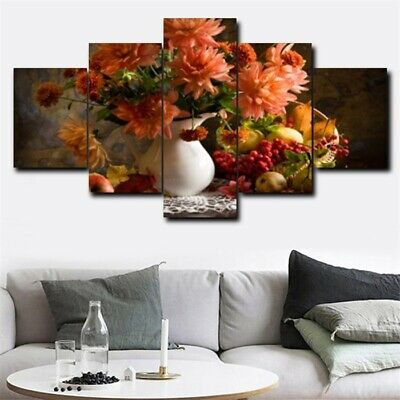 Blooming Flower On Vase Oil Painting 5Pcs Canvas Home Hotel Wall Decor Picture