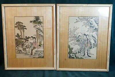Antique Asian Geisha Woman Cherry Blossoms Watercolor Pictures In Bamboo Frame