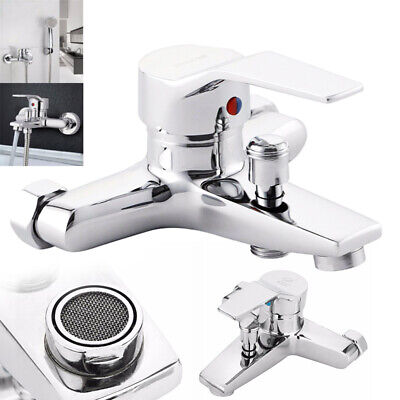 Modern Wall Mounted Bathroom Bath Shower Basin Tap Water Mixer Faucet Chrome UK