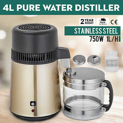 4L Water Distiller Purifier 750 W Stainless Steel With Glass Jar Medical Lab