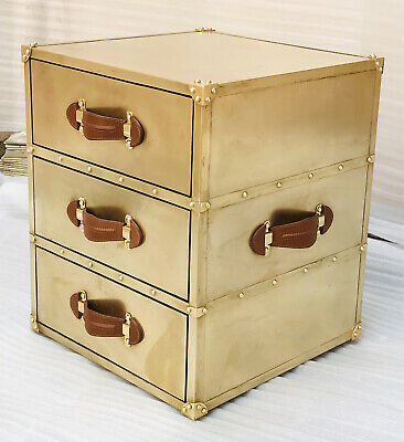 Patina Brass Vintage Look 3 Drawer Side Table
