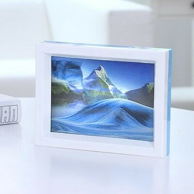 Framed Moving Sand Time Glass Picture Home Office Desk Decor Craft Gift Mountain