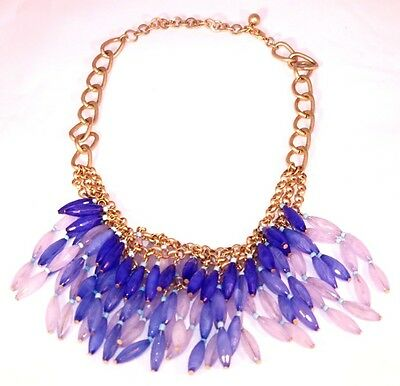 Anthropologie Necklace Stunning Triple Layer Detail Blue Shades Brand New #1555