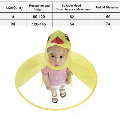 Foldable Cartoon Duck Raincoat Umbrella UFO Shape Waterproof Rain Hat Cute New