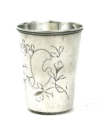 Antique Imperial Russian Silver 84 Large Vodka Beaker Cup Engraved c.1910