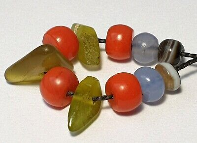 11 Ancient And Antique Beads (Natural Coral, Agate, Blue And Green Chalcedony)
