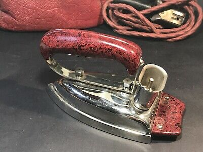 Vintage ESSCO Travel Iron Press, Southern Cross Porcelain Co, Red Handle + Case