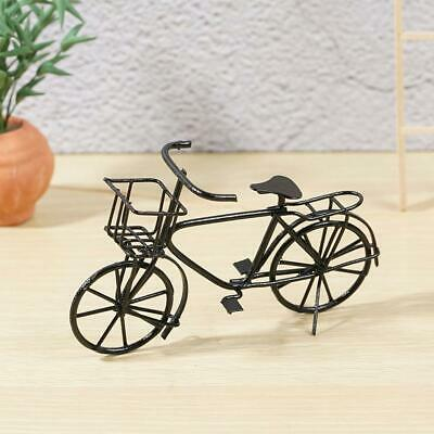 1:12 Dollhouse Miniature Furniture Black Metal Bicycle With Basket For Doll Toy