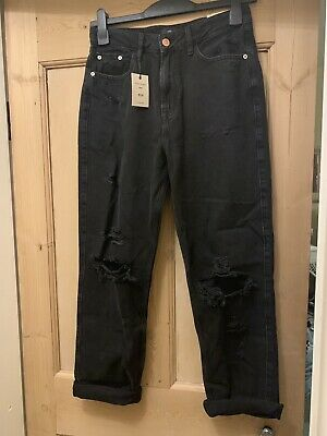River Island Black Ripped High Rise Mom Jeans Size 10R BNWT