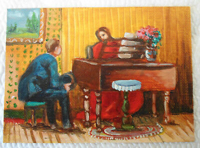 The Pianist Piano Victorian Lady  ACEO miniature Oil Painting by Amando LaVann