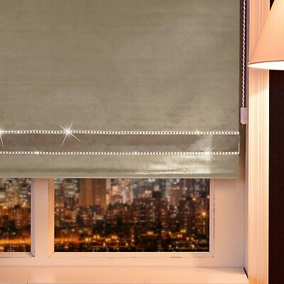 Bling Crushed Velvet Dual Tone Border Roller Blinds Made