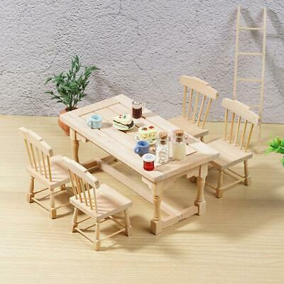 1 Dining Table and 4 Wood Chairs Can Be Painted For 1:12 Dollhouse Furniture Set
