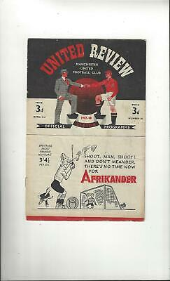 Manchester United v Derby County Football Programme 1947/48
