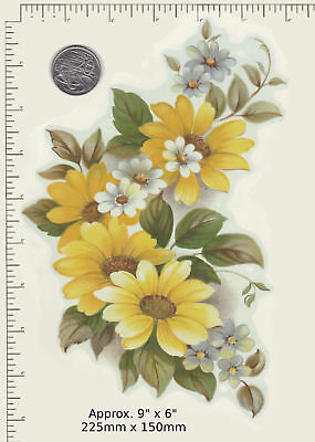 "1 x Large Yellow daisies Waterslide ceramic decal Approx. 9"" x 6"" PD51a"