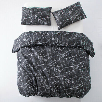 3 Piece Duvet Cover Marble Black With Matching Pillow Cases King Size Quilt Set