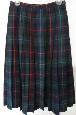 c5664441d2 Vintage Brooks Brothers Pleated Wool Skirt Green Blue Red Plaid Scotland  Size 10
